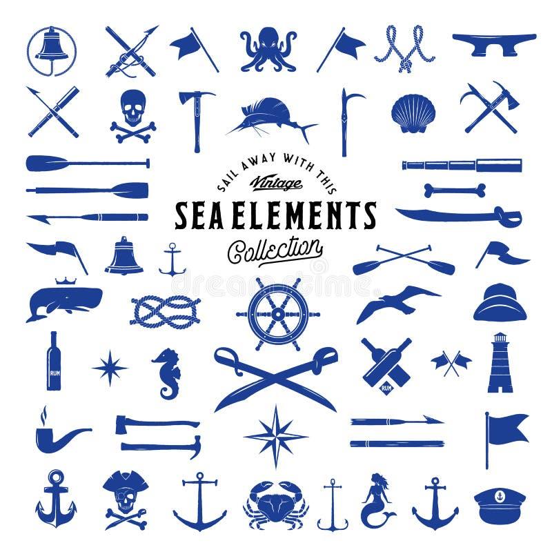 Mar do vetor do vintage ou grupo de elementos náutico do ícone para seus etiquetas, crachás e logotipos retros ilustração royalty free