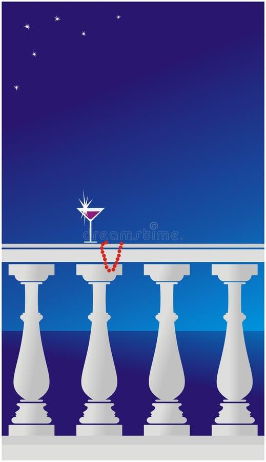 Mar e céu da noite: imagem do balcão ilustração royalty free