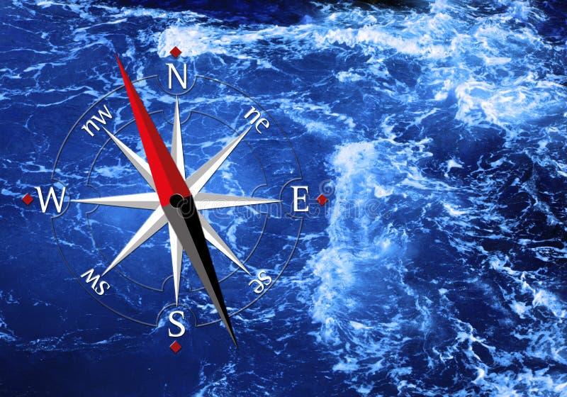 Mar e compasso fotografia de stock royalty free