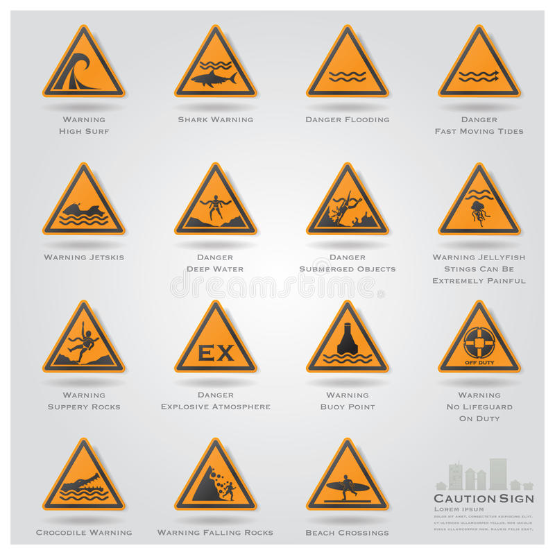 Mar e de cuidado e de sinal de aviso da praia ícones ajustados ilustração royalty free