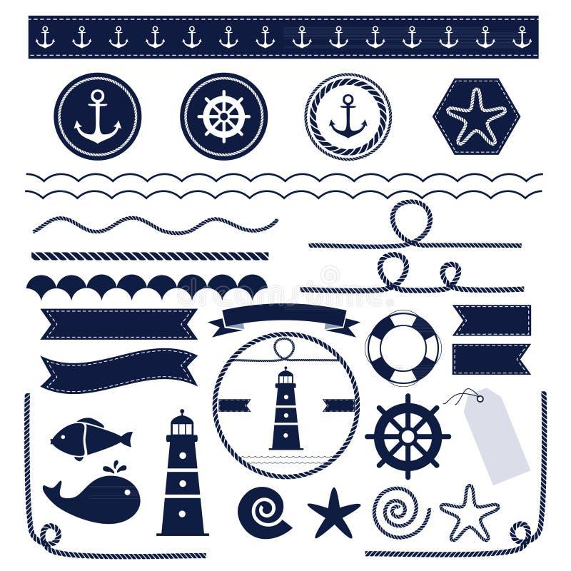 Mar e elementos náuticos ilustração royalty free