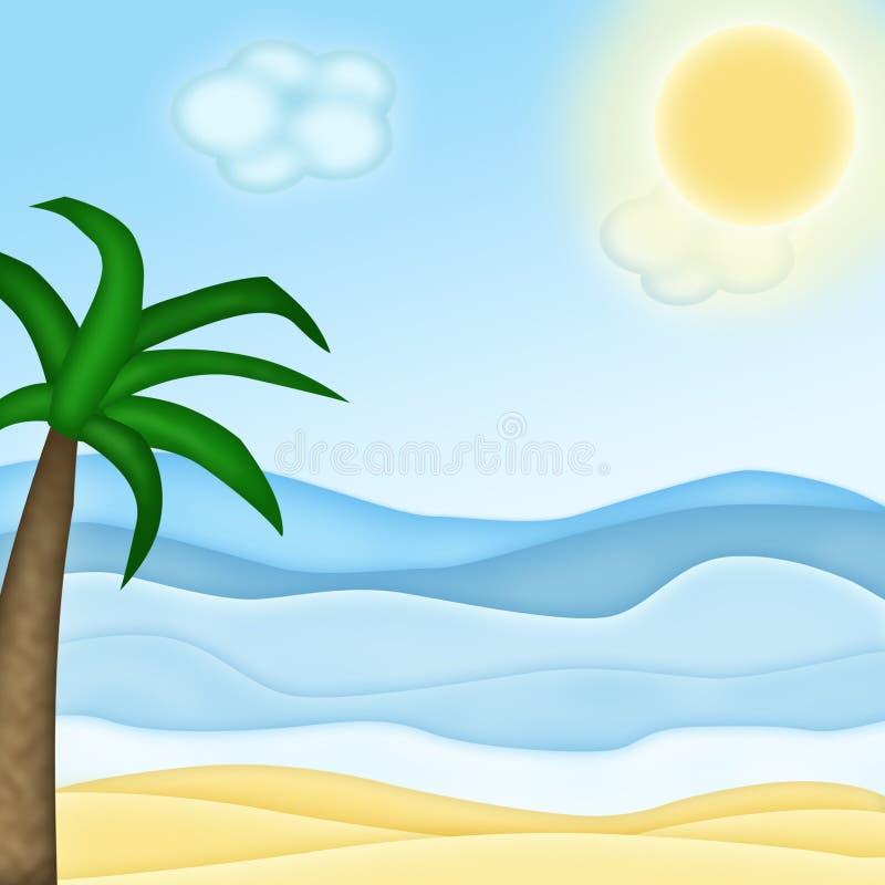 Mar e palma da areia ilustração royalty free