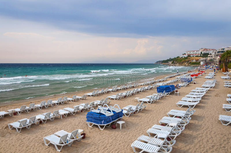 Mar Egeu e praia bonita das senhoras Kusadasi Turquia fotografia de stock royalty free