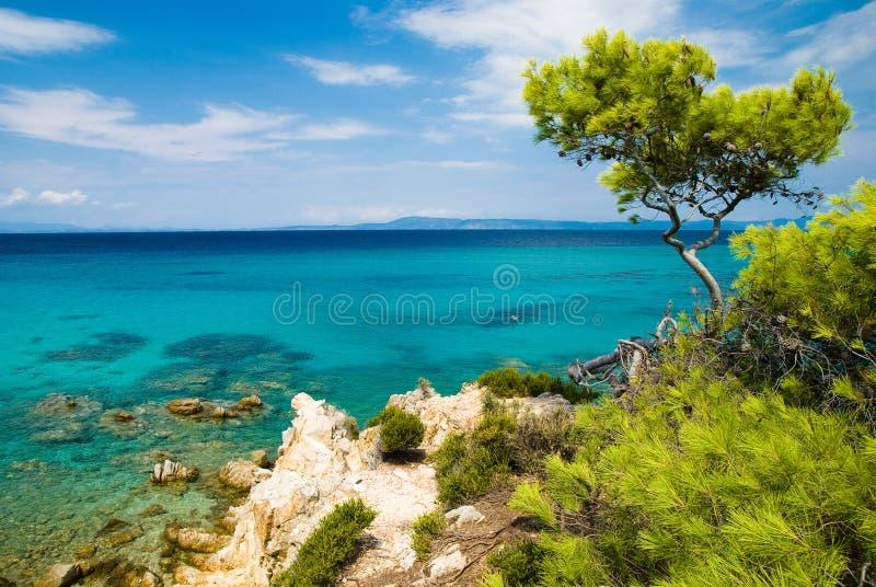 Mar Egeu no sithonia fotos de stock