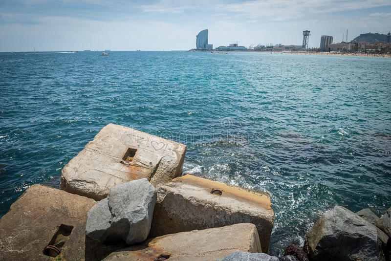 Mar em Barcelona fotos de stock