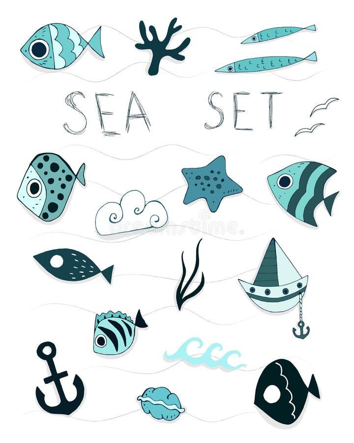 Mar fijado con una inscripción y los elementos Ilustraci?n del vector ilustración del vector