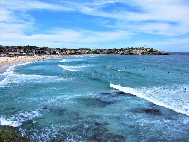 Mar impressionante, ressaca e Sun na praia de Bondi fotos de stock royalty free