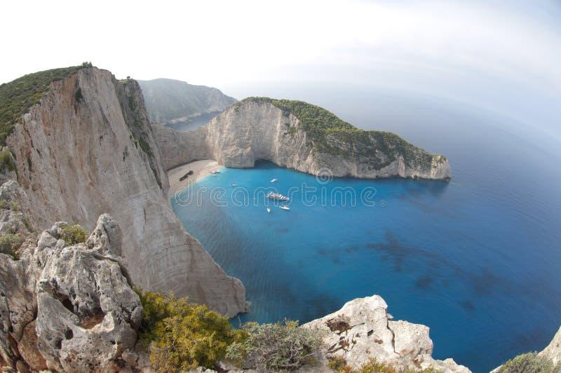 Mar Ionian da praia de Navagio imagens de stock royalty free