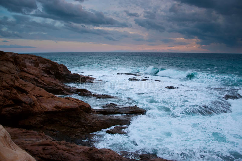 Mar Ligure tempestoso fotografia stock libera da diritti