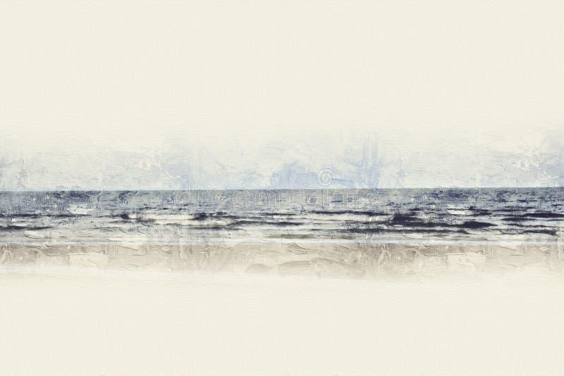 Mar macio bonito abstrato da onda no fundo azul da pintura da aquarela da forma ilustração do vetor
