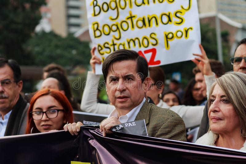 18 Mar 2019 - March for the defense of the JEP, Special Jurisdiction for peace Bogotá Colombia. Bogotá, Colombia. 18th Mar 2019. March for the defense of stock images