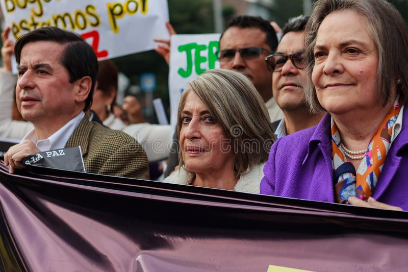 18 Mar 2019 - March for the defense of the JEP, Special Jurisdiction for peace Bogotá Colombia. Bogotá, Colombia. 18th Mar 2019. March for the defense of royalty free stock photos