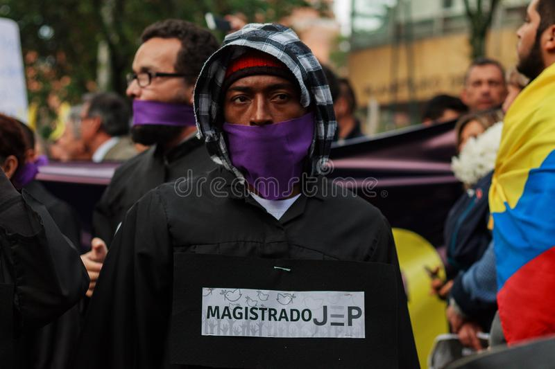 18 Mar 2019 - March for the defense of the JEP, Special Jurisdiction for peace Bogotá Colombia. Bogotá, Colombia. 18th Mar 2019. March for the defense of royalty free stock image