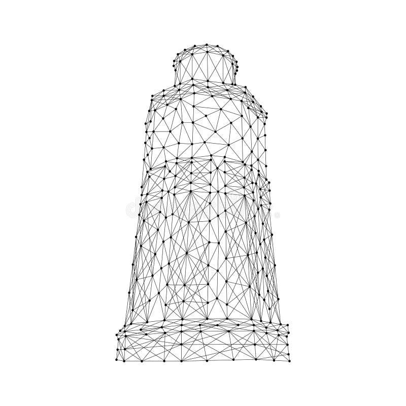 Mar marino del faro de líneas y de puntos negros poligonales futuristas del extracto Ilustraci?n del vector libre illustration