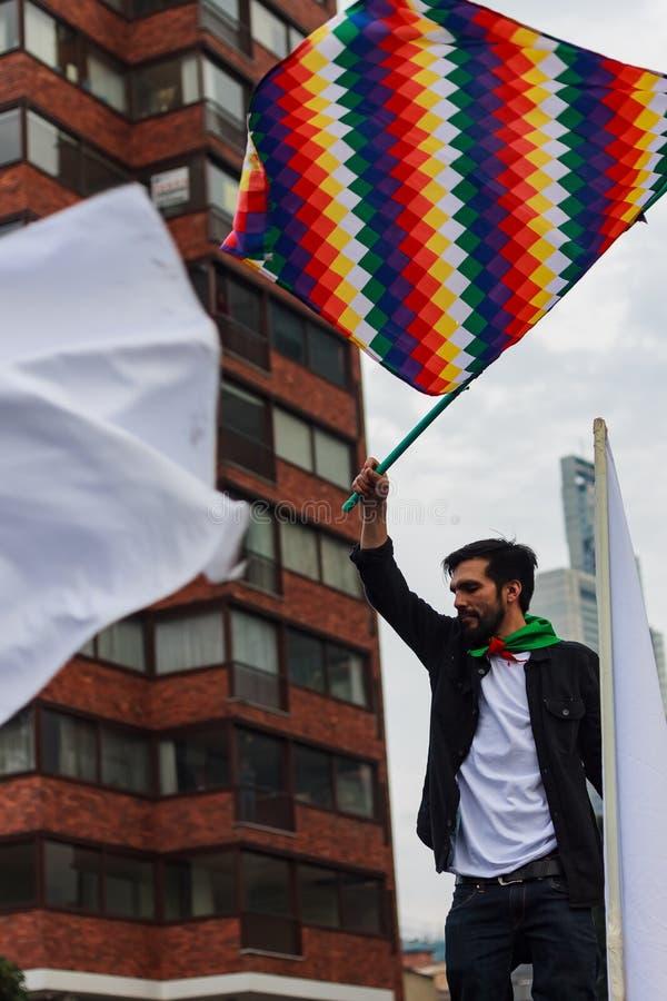 18 Mar 2019 - Marzec dla obrony JEP, Specjalna jurysdykcja dla pokoju Bogotà ¡ Kolumbia zdjęcia royalty free