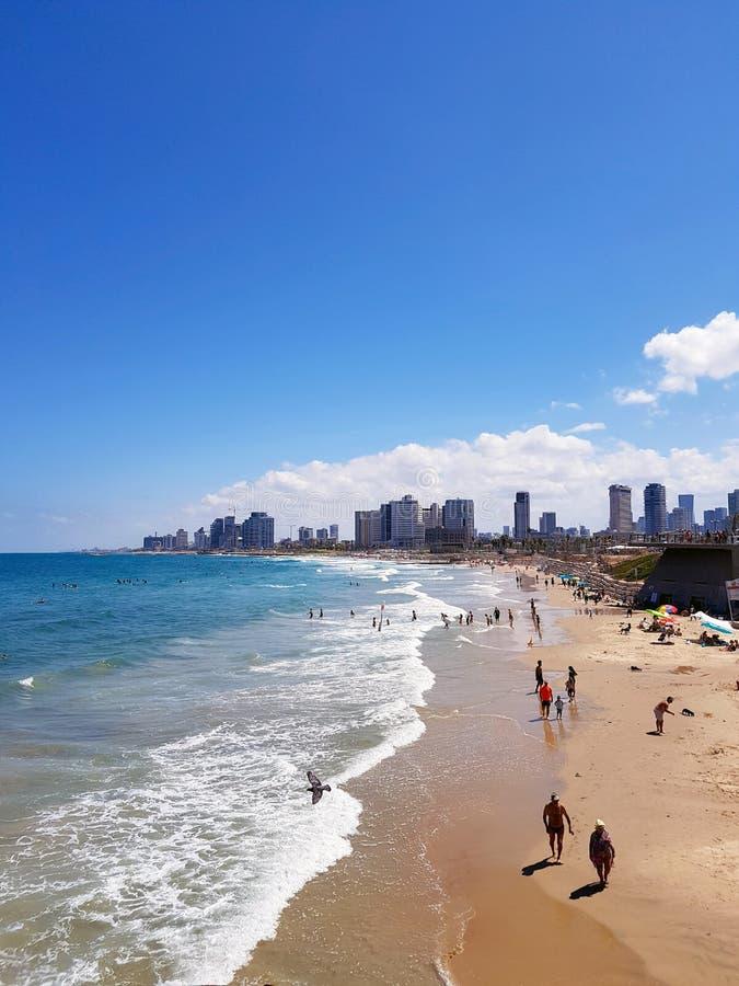 Mar Mediterráneo tranquilo en Tel Aviv fotografía de archivo libre de regalías
