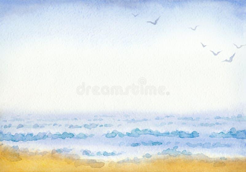 Mar Pintura de la acuarela stock de ilustración
