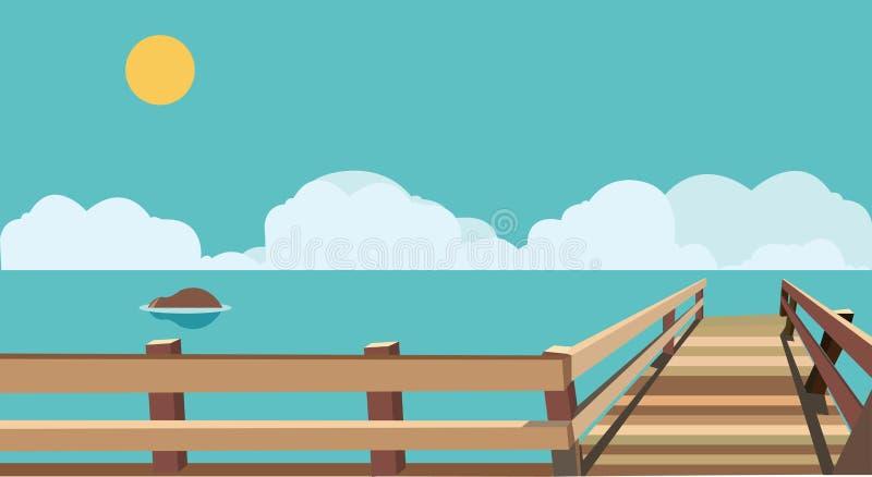 Download Mar plano con el puente ilustración del vector. Ilustración de editable - 64208910