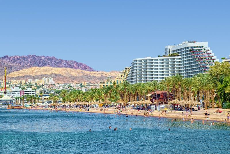 Mar Rosso e paesaggio di Eilat fotografie stock libere da diritti