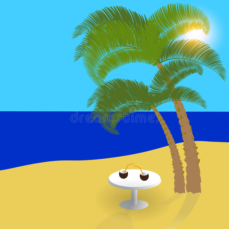 Mar, sol, arena en las islas exóticas, día de fiesta hermoso en la sombra de palmeras Ilustración stock de ilustración