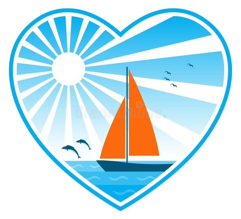Mar, sol y barco de vela en corazón libre illustration
