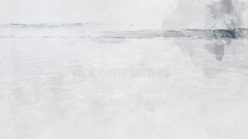 Mar suave de la onda en fondo de pintura del ejemplo de la acuarela de la playa libre illustration