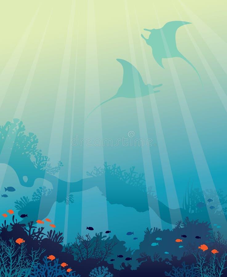 Mar subaquático - mantas, peixes, recife de corais ilustração do vetor