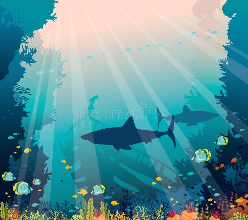 Mar subaquático - tubarões, recife de corais e navio afundado ilustração royalty free
