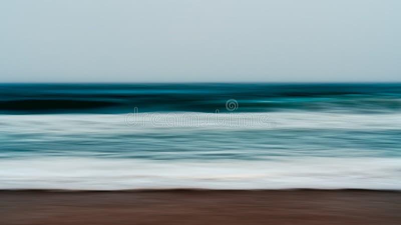 Mar tempestuoso, crepúsculo Paisaje marino abstracto del fondo stock de ilustración