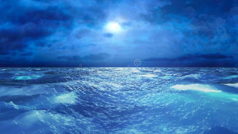 Mar tempestuoso realista en la noche, representación abstracta del fondo 3D stock de ilustración