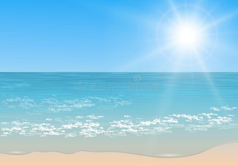 Mar tropical do vetor. ilustração royalty free