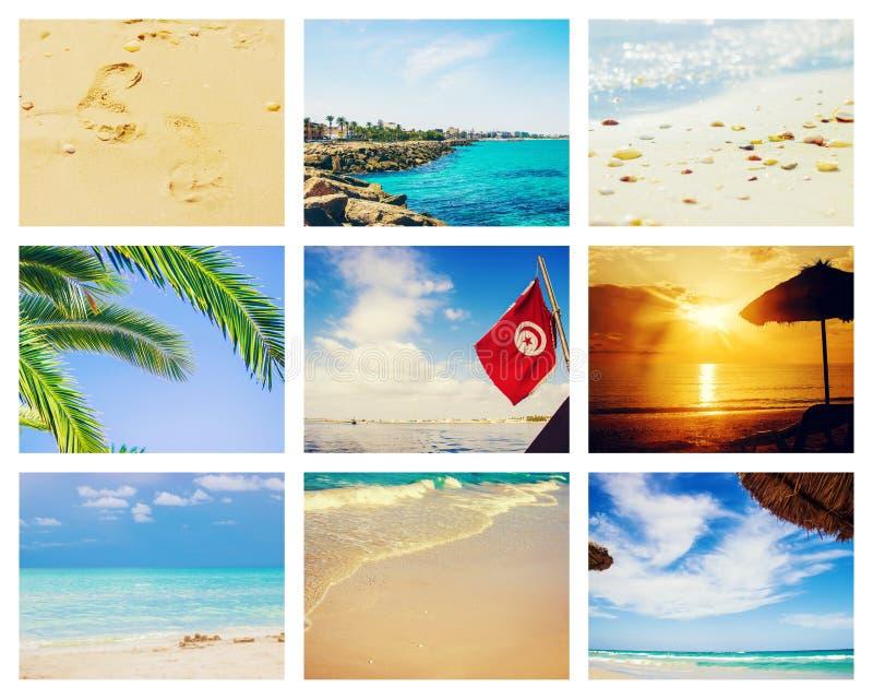 Mar Tunísia Mahdia da foto da colagem imagens de stock