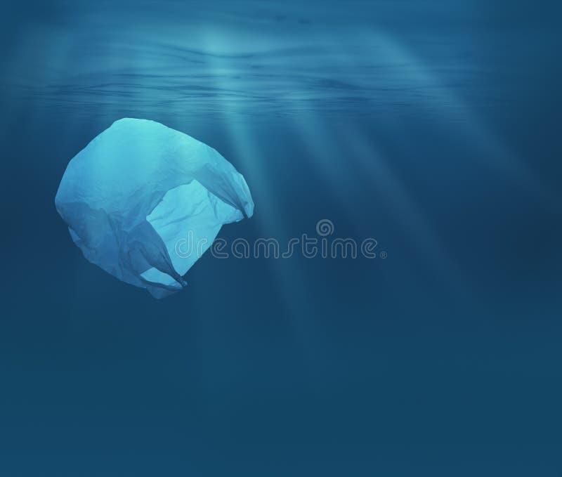 Mar u océano subacuático con la bolsa de plástico Problema ecológico de la contaminación del ambiente foto de archivo libre de regalías