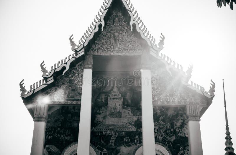 Ancient historic Buddhism mural painting at Wat Uposatharam Temp. MAR 1, 2018 Uthaithani - Thailand : Ancient historic Buddhism mural painting at Wat Uposatharam stock photo