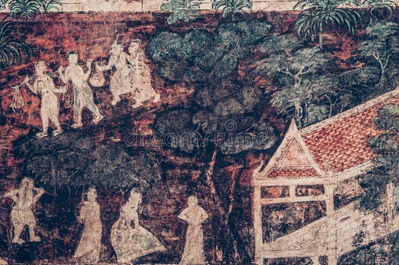 Ancient historic Buddhism mural painting at Wat Uposatharam Temp. MAR 1, 2018 Uthaithani - Thailand : Ancient historic Buddhism mural painting at Wat Uposatharam stock photography