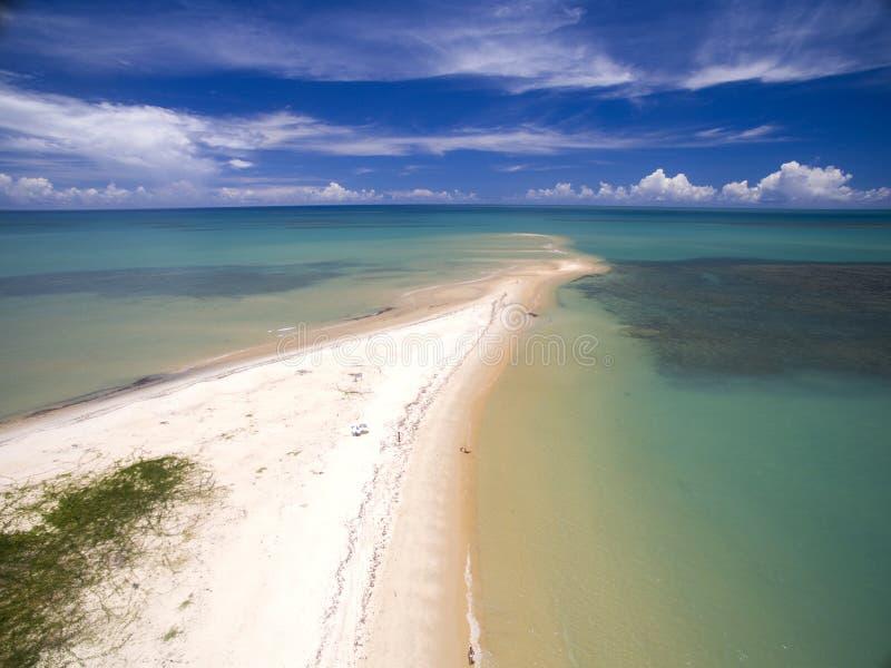 Mar verde de la visión aérea en una costa brasileña de la playa en un día soleado en Corumbau, Bahía, el Brasil En febrero de 201 foto de archivo