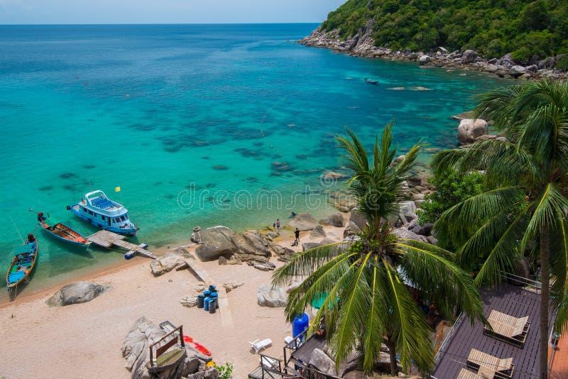 Mar y barco. isla hermosa de tao del ko. Tailandia foto de archivo