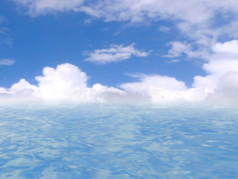 Mar y cielo azul, representación 3D ilustración del vector