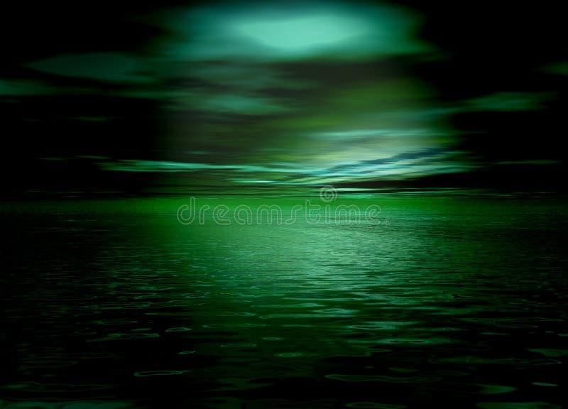 Mar y cielo verdes hermosos del horizonte después de la puesta del sol stock de ilustración
