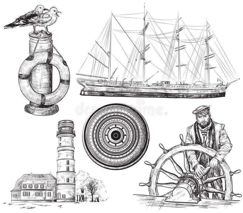 Mar y elementos náuticos ilustración del vector