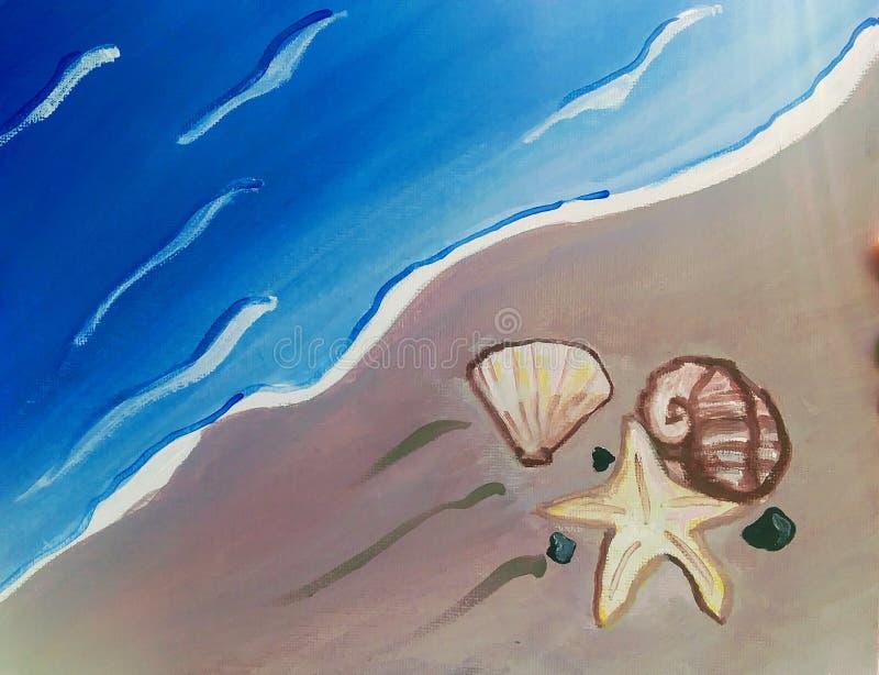 Mar y la pintura de arena fotografía de archivo libre de regalías