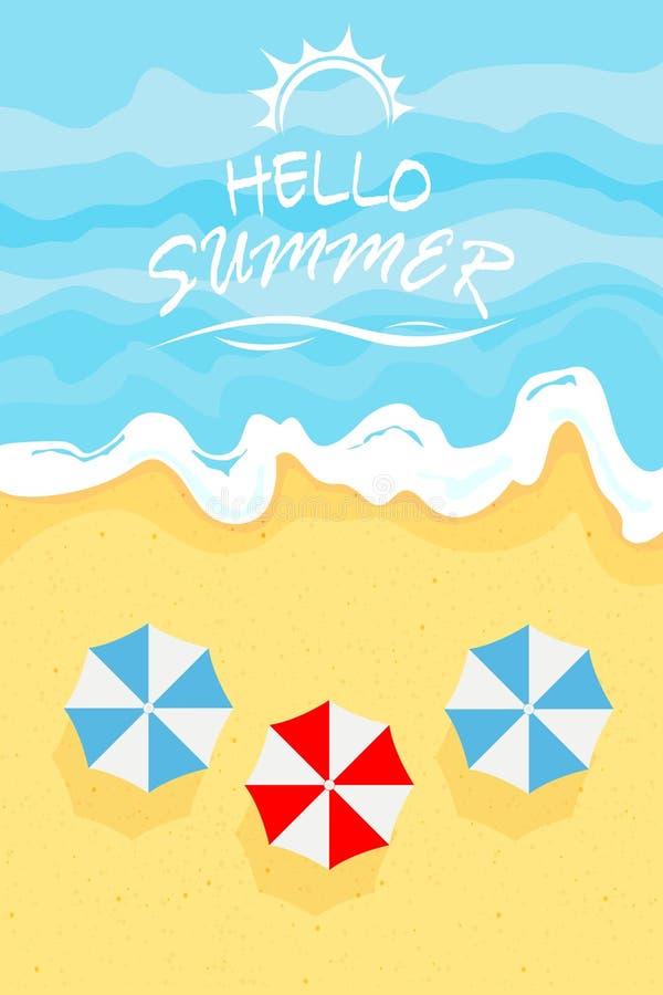 Mar y paraguas en la playa del verano stock de ilustración
