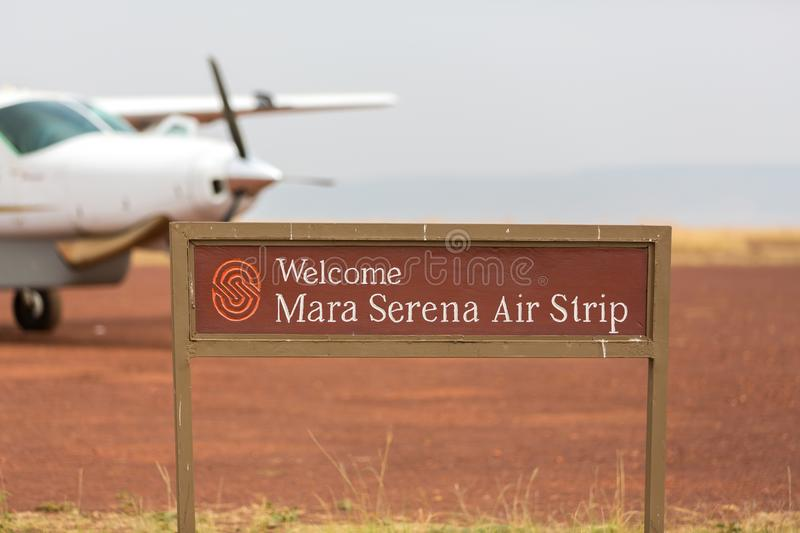 Mara Serena Air Strip in the Masai Mara. Masai Mara, Kenya - 29th July 2017: The Mara Serena air strip. Small planes land and take off from here bringing royalty free stock photo