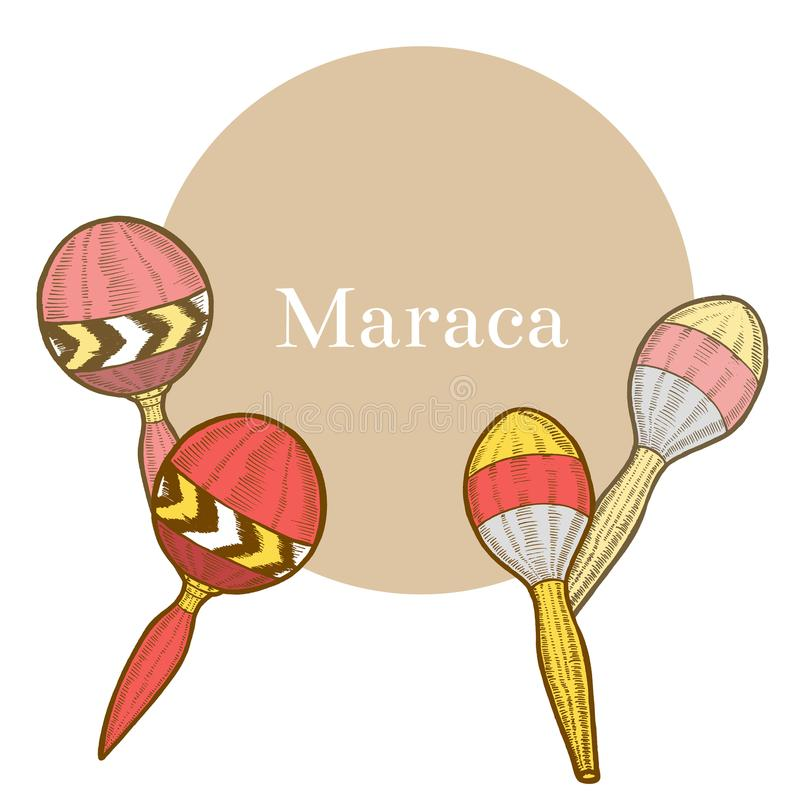 Maraca in Hand-Drawn Stijl stock illustratie