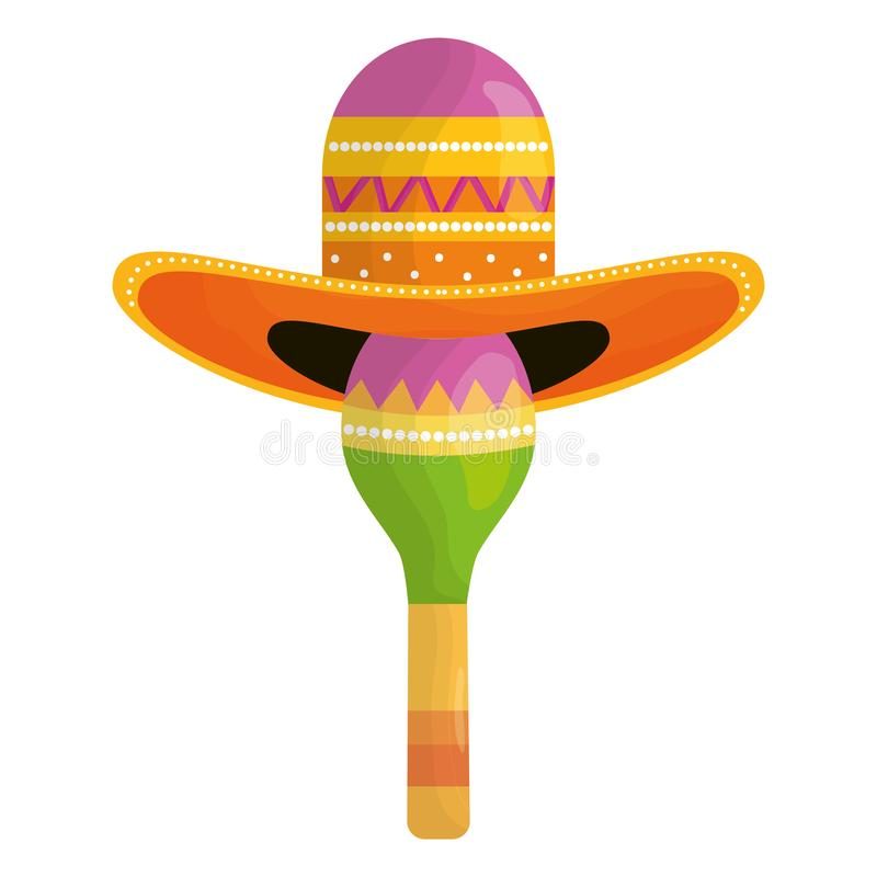 Maraca met Mexicaanse hoed stock illustratie
