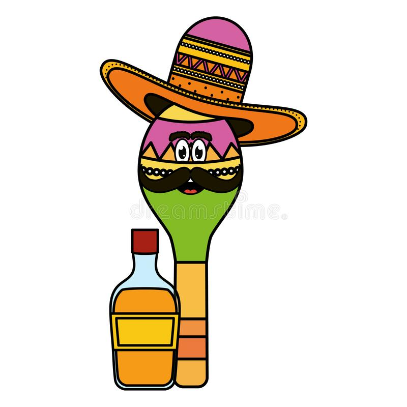 Maraca with mexican hat character and tequila bottle royalty free illustration
