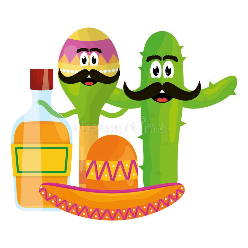 Maraca with mexican hat character and tequila bottle stock illustration