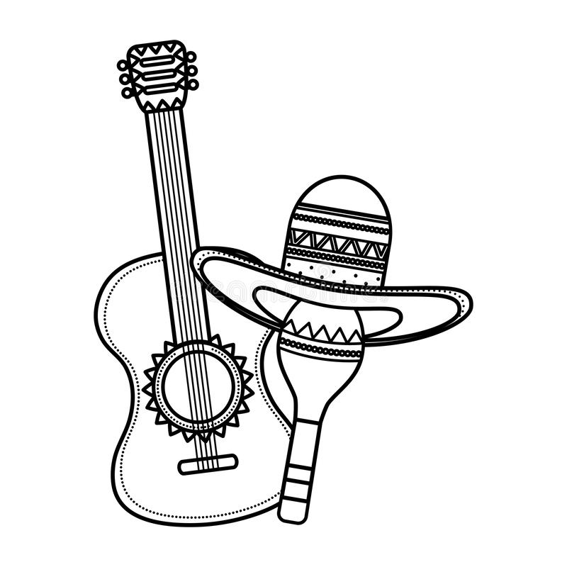 Maraca with mexican hat and guitar stock illustration