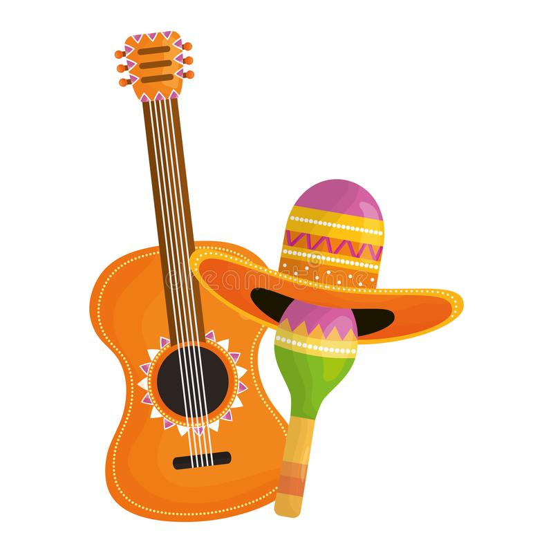 Maraca with mexican hat and guitar vector illustration