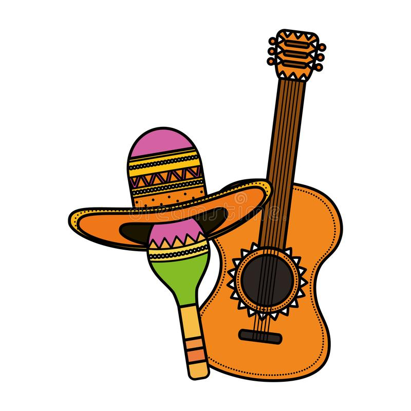Maraca with mexican hat and guitar royalty free illustration
